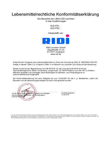 Certificat agroalimentaire Ligne lumineuse LINIA FLAT-FS (LED)