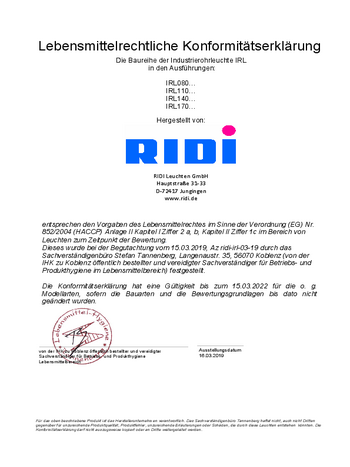 Certificat agroalimentaire IRL