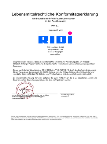 Certificat agroalimentaire Luminaires étanches PFYB